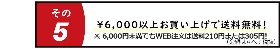 ¥6,000以上お買い上げで送料無料!